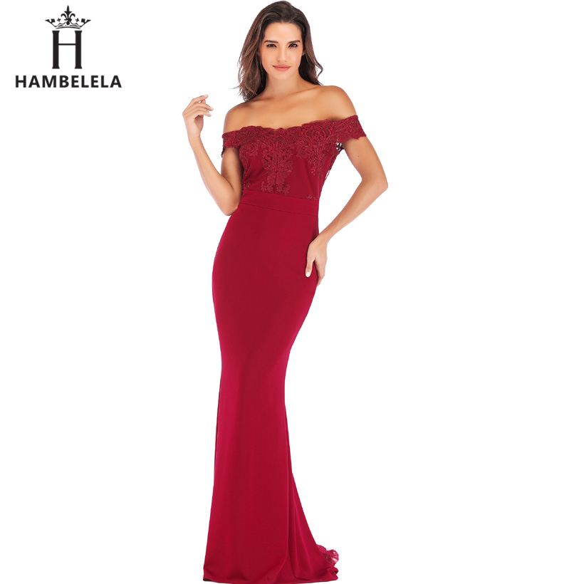 HAMBELELA Vestido De Festa Pink Black Red Mermaid Dress Lace Top Bodice Slim Long Formal Party Dress Charming Wedding Party Gown (7)