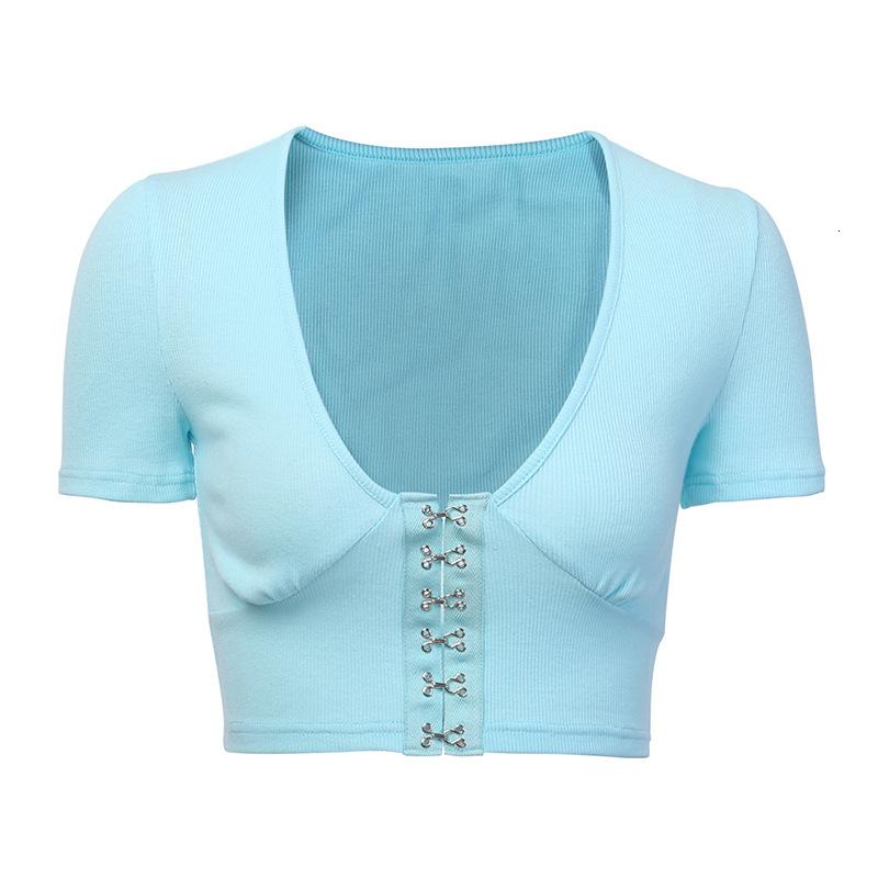 Göbek Maruz Kısa 93289 Seksi U Yaka Meme Geliştirme Toka Gömlek Kadın Yaz T Shirt