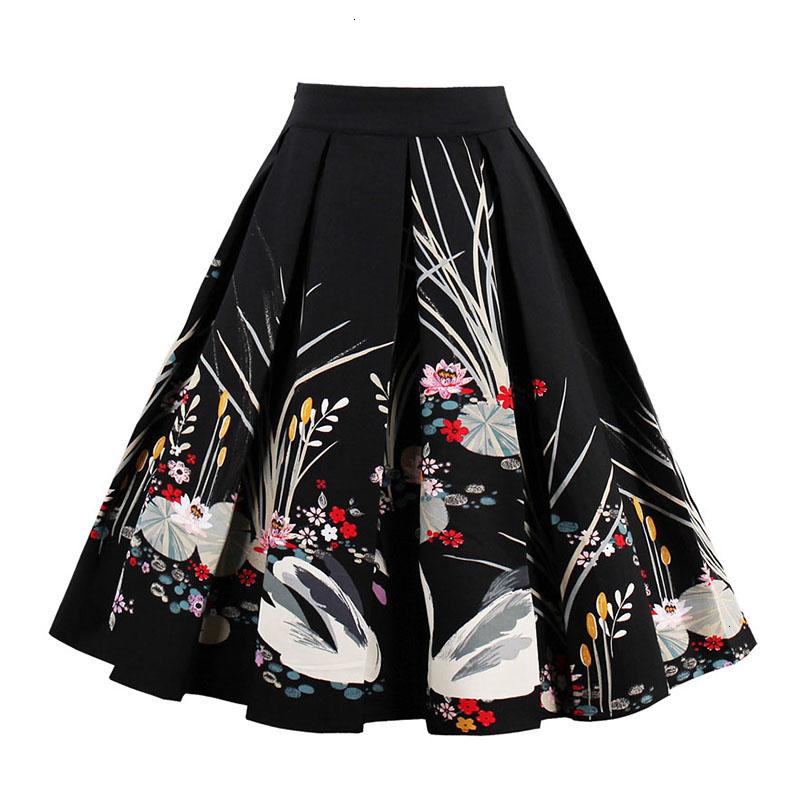 Kostlish Retro Print Flower Summer Skirts Womens High Waist Vintage Skirt Elegant A-Line Midi Women Skirt Plus Size XXL 22 (6)