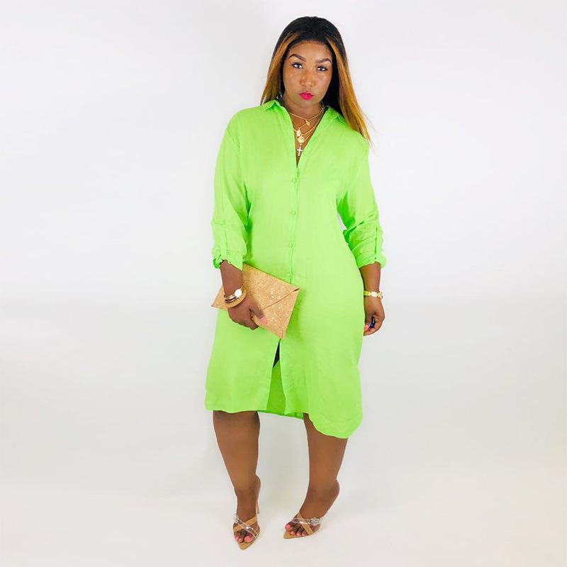 Neon Green Summer Loose T Shirt Dress Women Turn Down Collar Long Sleeve Midi Dress Casual Buttons Up Backless Side Split Dress Y19073101