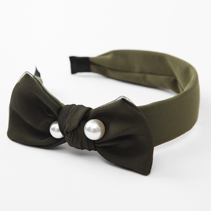 10 army green headband with hair bows