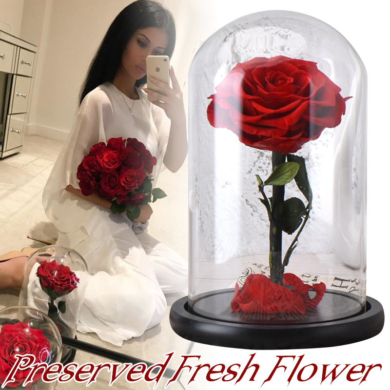 Eternal Rose Flower With Dome Glass Black Case Artificial Flower Gift For New Year Valentine Christmas Gif Good Home Decoration Y19061103