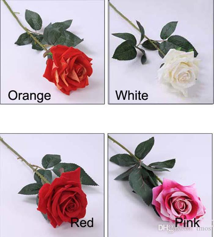 Wholesale 26.8inch Big blooming Red-rose Artificial Flowers Flocking Red Roses Wholesale Display Flower for Home decorations Wedding Party
