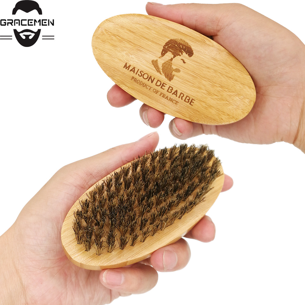 MOQ 50pcs OEM Customized LOGO Bamboo Beard Brush Boar Bristle Brush Oval Facial Brush for Men Grooming Amazon Hot Sale
