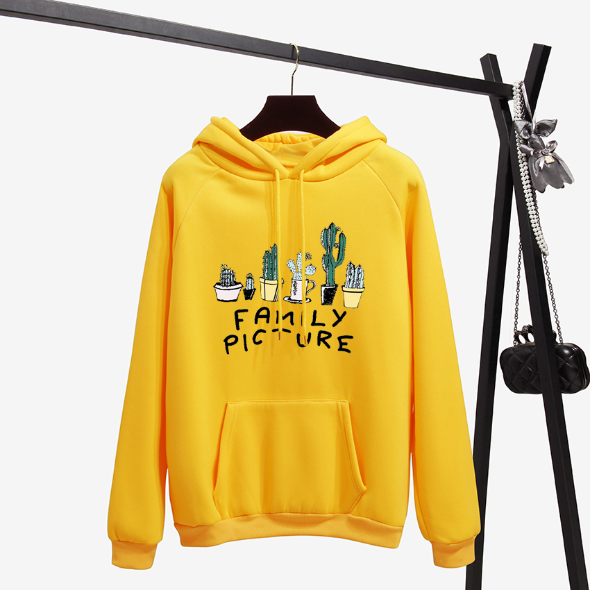 Winter Coat Loose Thick Hoodies Women Sweatshirt Kawaii Cactus Family Picture Harajuku Pullover Office Lady Feminino Clothes MX190815