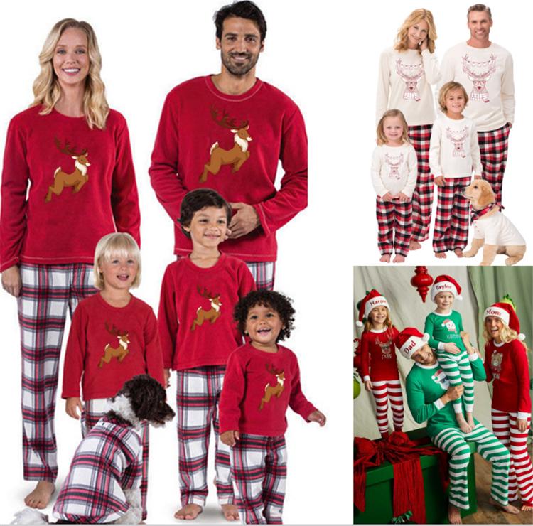 2Pcs Family Matching Christmas Pajamas Sets Long Sleeve Letter Tops Plaid Pants Sleepwear Homewear