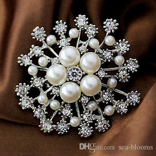 4.5cm Fashion Jewelry Plated Tone Rhinestone Crystal Large Red Poppy Brooch Pin Gift 4 Styles Fashion Costume Pin Brooch B530S
