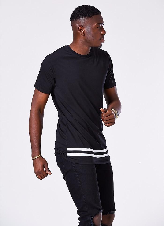Moomphya Fashion streetwear Men short sleeve t shirt Stylish Longline hipster t shirt men patchwork stripe t shirt