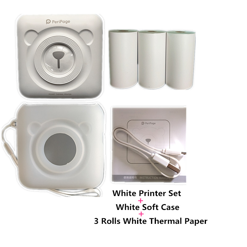 a6 peripage soft silicone case photo thermal printer and white thermal paper no adhesive