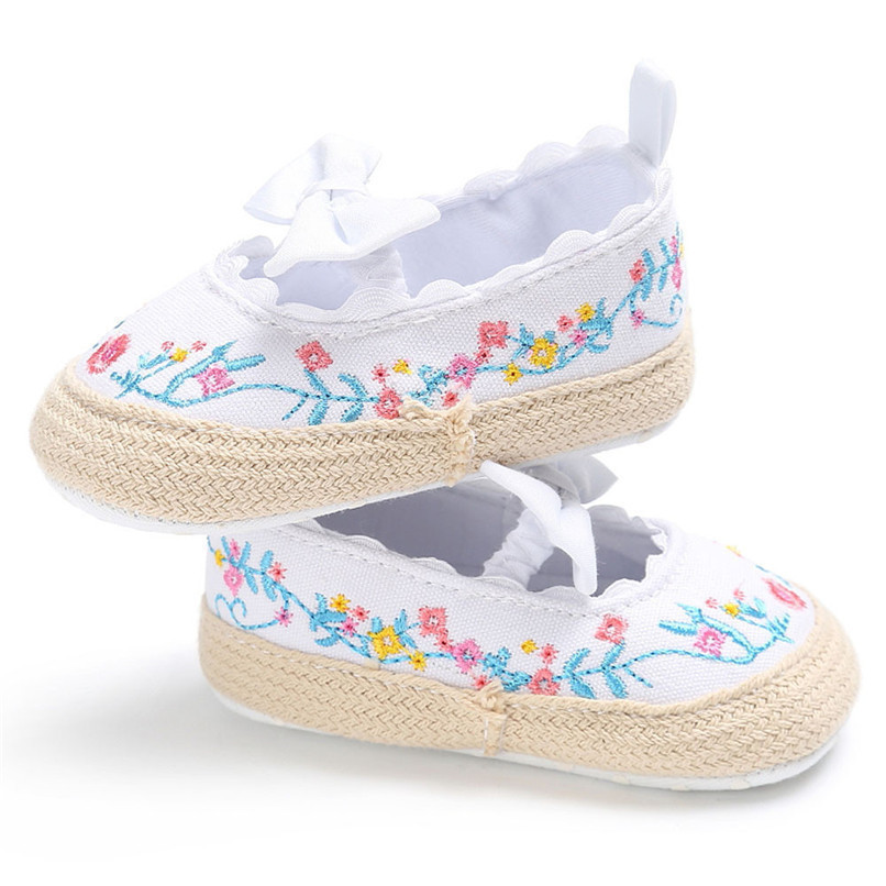 Baby Girls Shoes Fashion Newborn Infant Baby Girls Canvas Floral Bowknot Lace Shoes Soft Sole Anti-slip First Walker M8Y04 (9)