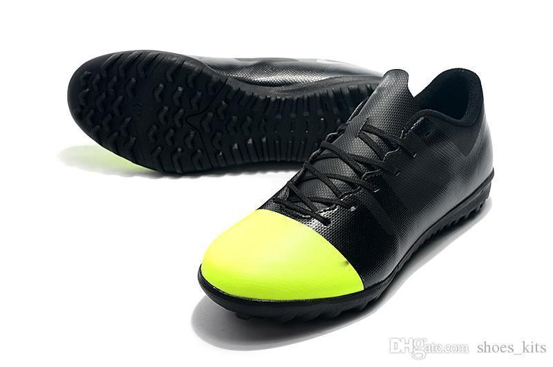 Gelb Schwarz Ursprüngliche Unisex Fußballschuhe Niedrigen Knöchel Fußballschuh Mercurial XII TF Kinder Fußballschuhe Großhandel Meistverkaufte Designer Schuhe