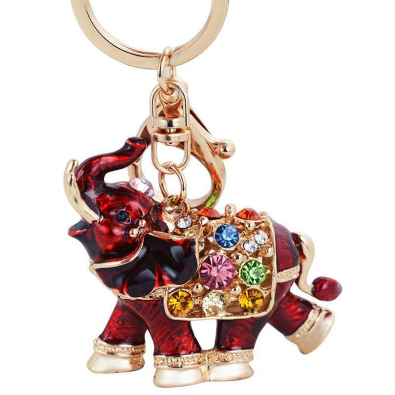 Asian Wood China carved Collection Pendant double ear Elephant car Key Chain