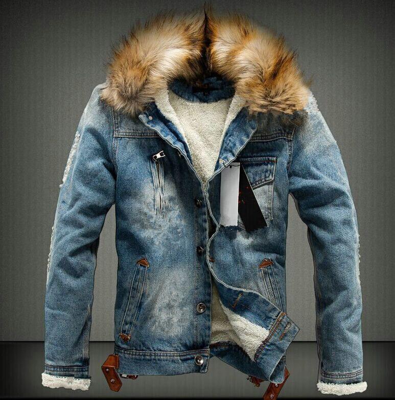 Herren Jacke mit Kapuze Winter Warm Herbst Fashion Jeansjacke Bikerjacke M-5XL