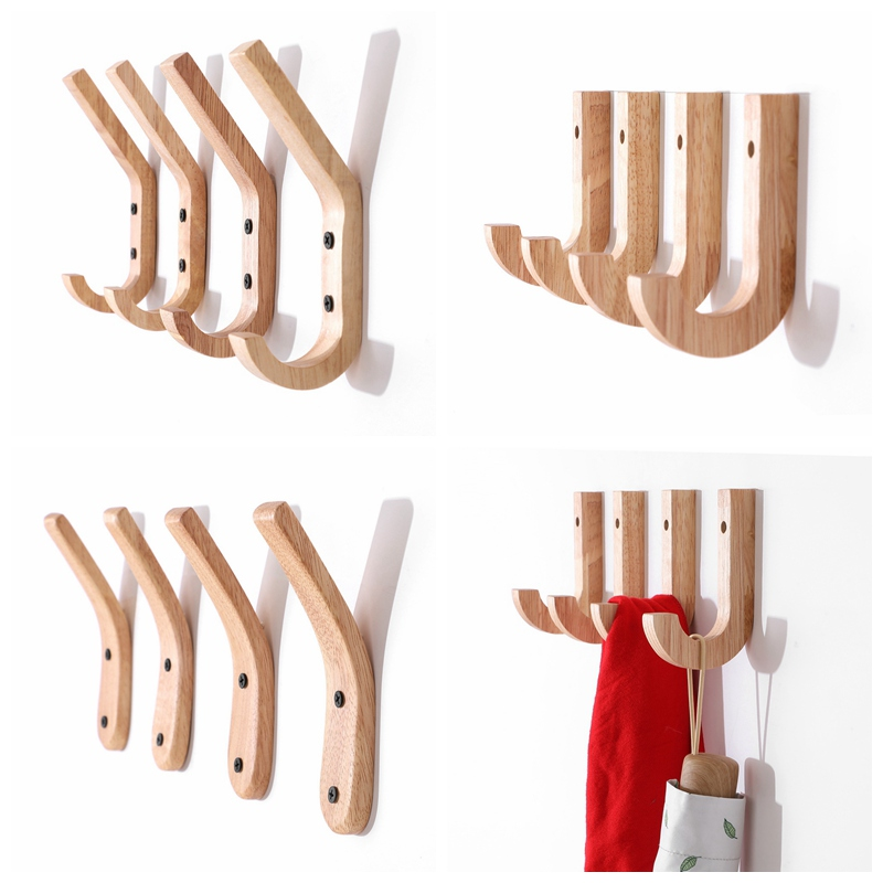 Water Drop Coat Hat Bag Holder Wood Wall Hook Rail Rack Hanger Home Decor CS