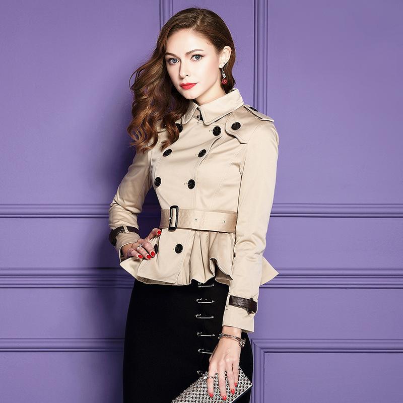 2019 Damen Designer Zweireihig Lang Trenchcoat Outwearlinie Wasserfest