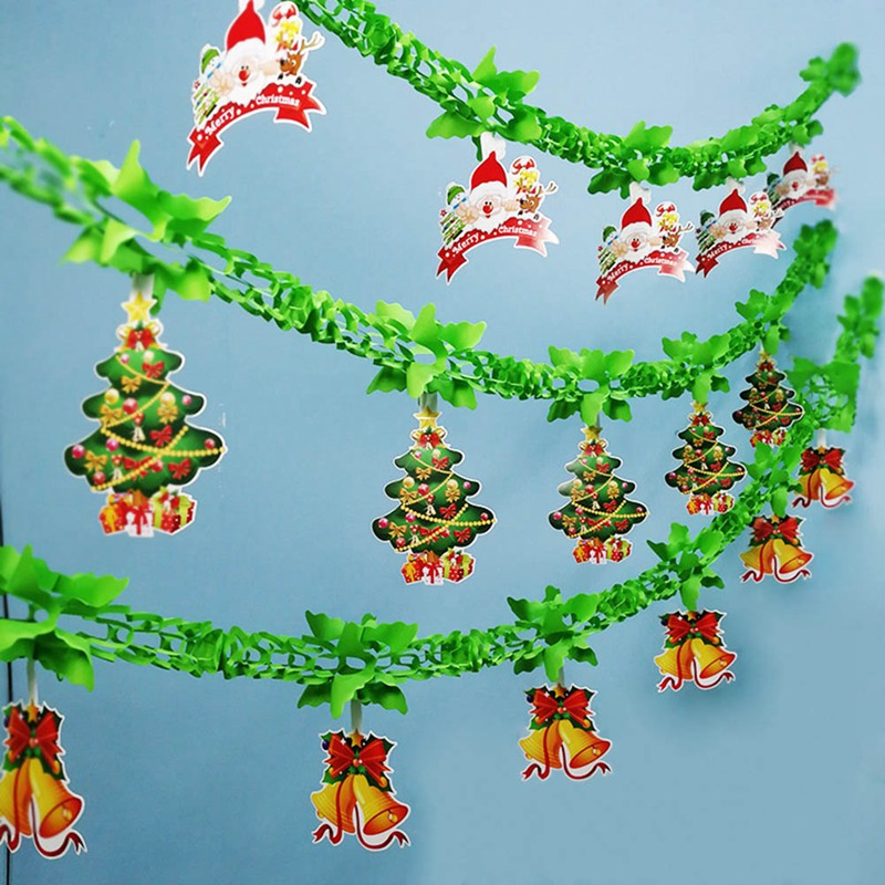 Paper Christmas Tree Hanging Garland Flag Xmas Banner For Christmas Party Decor