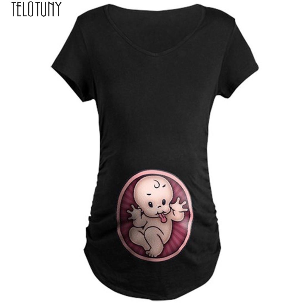 Mutterschaft niedlichen Baby Print Oansatz Kurzarm T Shirt Schwangere Tops