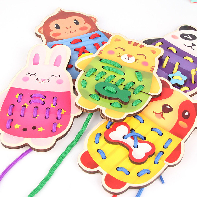 Montessori Toys Kids Early Educational Learning Puzzle Wooden Toys for Children Lacing Tie Shoelaces Board Teaching Aids