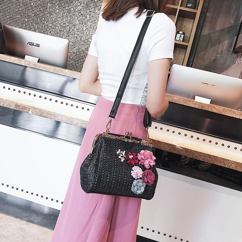 Women Pearl Handbag INS Popular Female Summer Flower Straw Bag Lady Fashion Shoulder Bag Travel Beach Woven Crossbody Bag SS7220 (17)