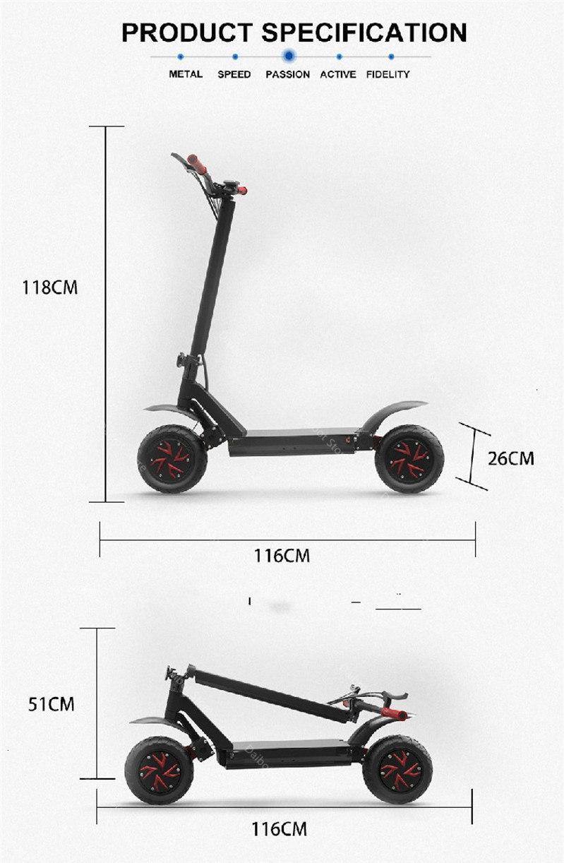 Daibot Powerful Electric Scooter 2 Wheels Electric Scooters 10 Inch 52V 2000W60V 3600W Folding Electric Bike With Rear Tail Box (61)