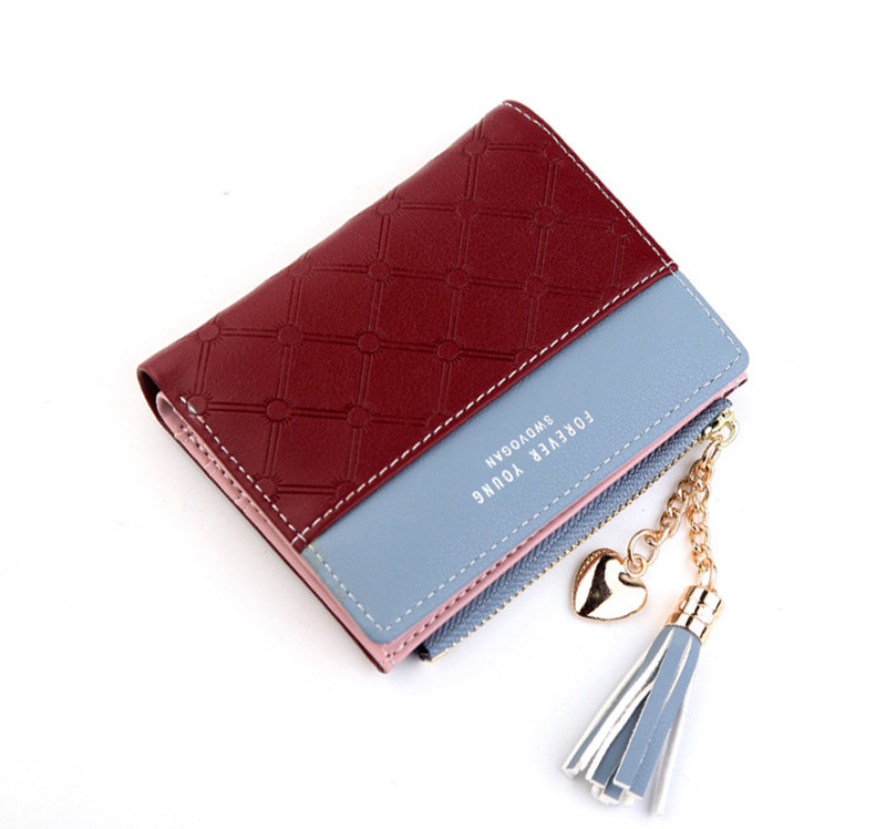 Women Wallet Female Short Paragraph Coin Purse Color Wallet Women Small Fold Wallets Tassel Zipper Button Bag Credit Card Holder (20)