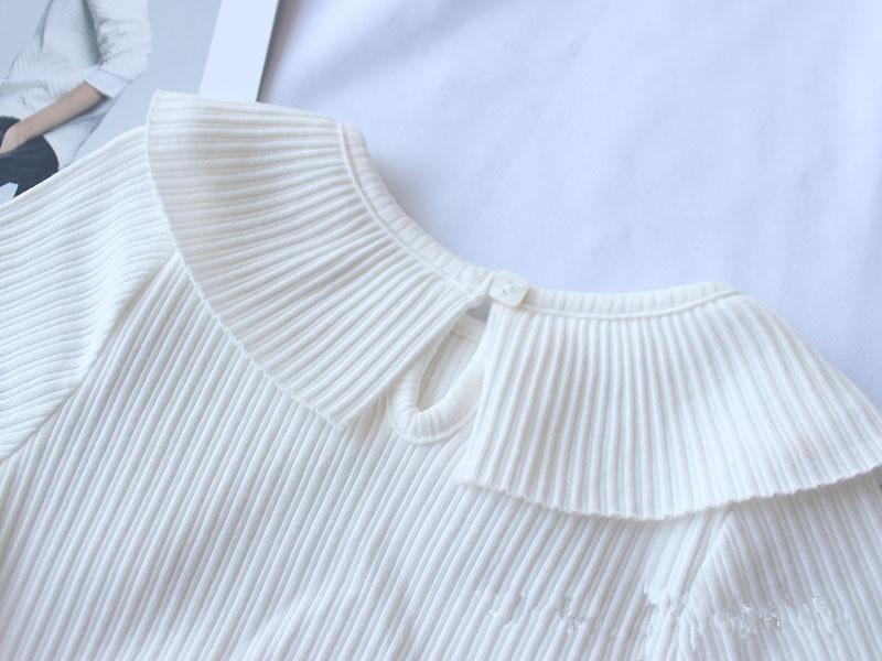 2019 Summer Knitted Shirt Baby Girls T-shirt Pink Gray White Kids Princess Tees Children's Ruffles Blouse Shirt Garcon Clothes J190511