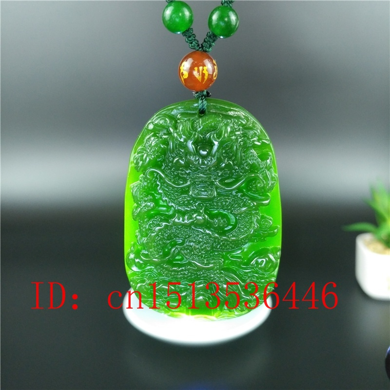 Hot china Natural Jade Hand-carved Green Necklace Pendant