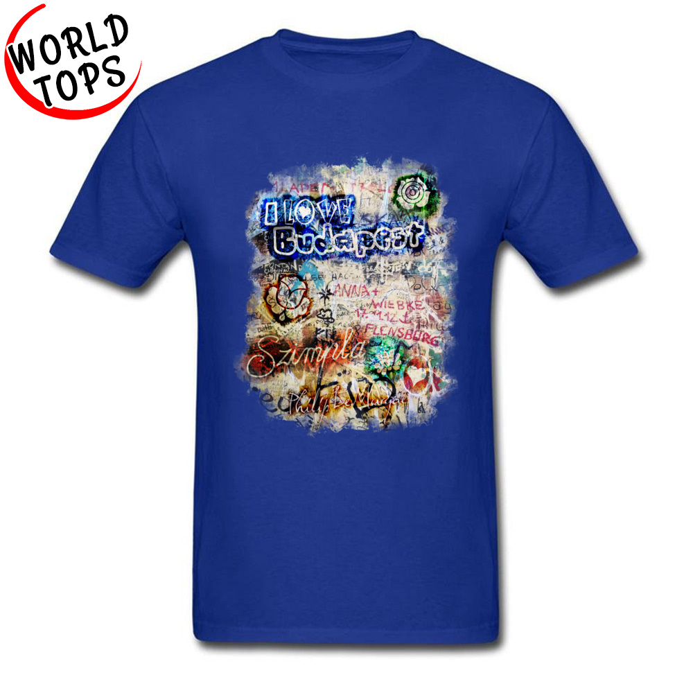 Graffiti Szimpla I Love Budapest Mother Day Pure Cotton Round Collar Tops T Shirt Funny Clothing Shirt Wholesale Top T-shirts Graffiti Szimpla I Love Budapest blue