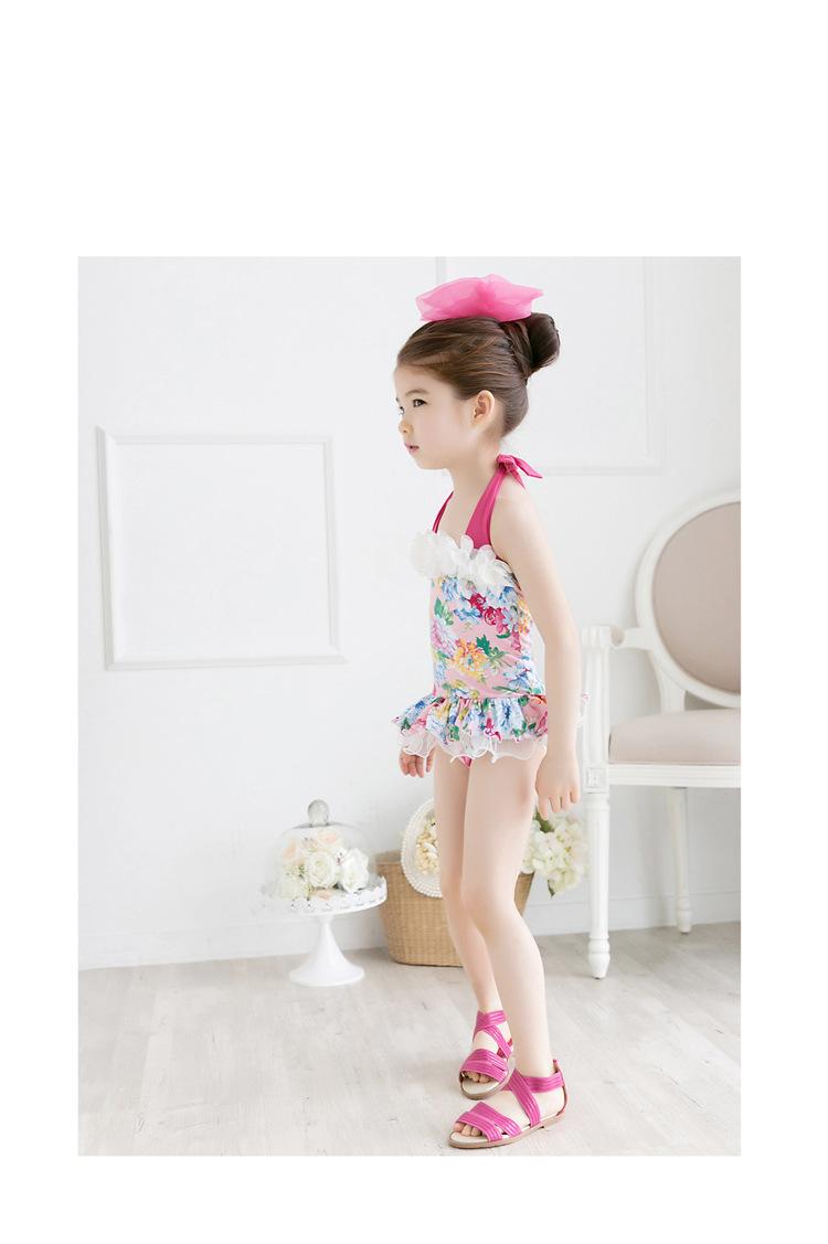 2pcs Baby Girls Swimwear Kids Swimming Bikinis Siamese skirt type swimsuit one piece lace sweet Bathing Suit Swimsuit with Cap (6)