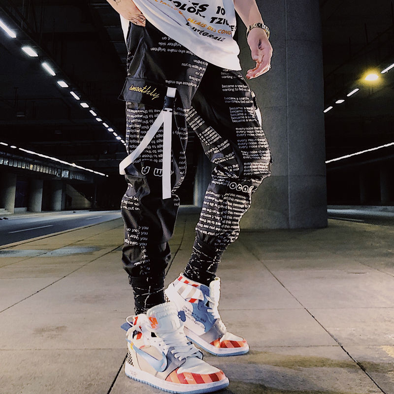 2019 ins Men Pants Casual Mens hip hop rap Male Trousers street boy quick-dry Straight Full breathing loose ankle banded Pant