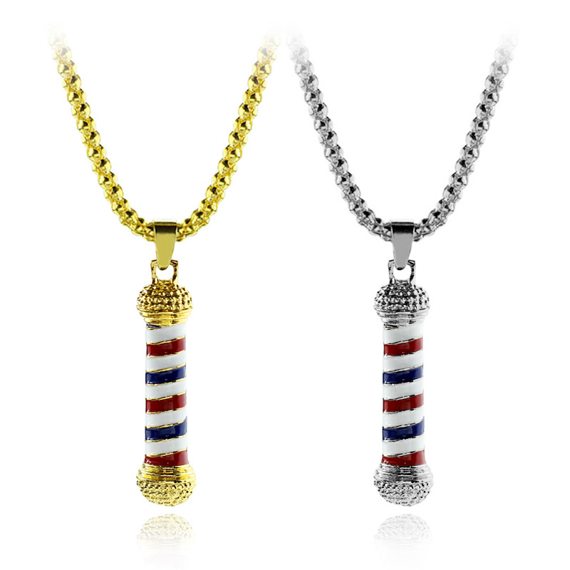 Color Barber Turn Light Hair Style Designer Personality Metal Decoration Pendant Necklace Hairdressing Carnival Event Gifts