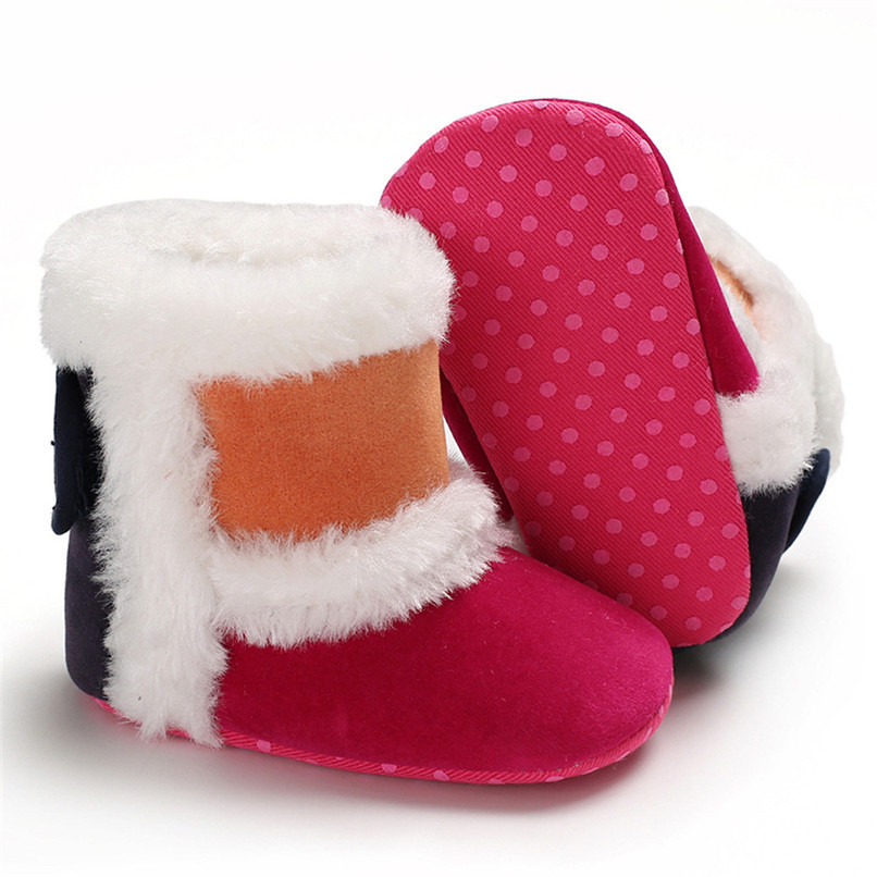 1 Pair Baby Girl Boots Baby Girl Splicing Soft Sole Snow Boots Soft Crib Warm Shoes Toddler winter Boots bota infantil D10 (16)