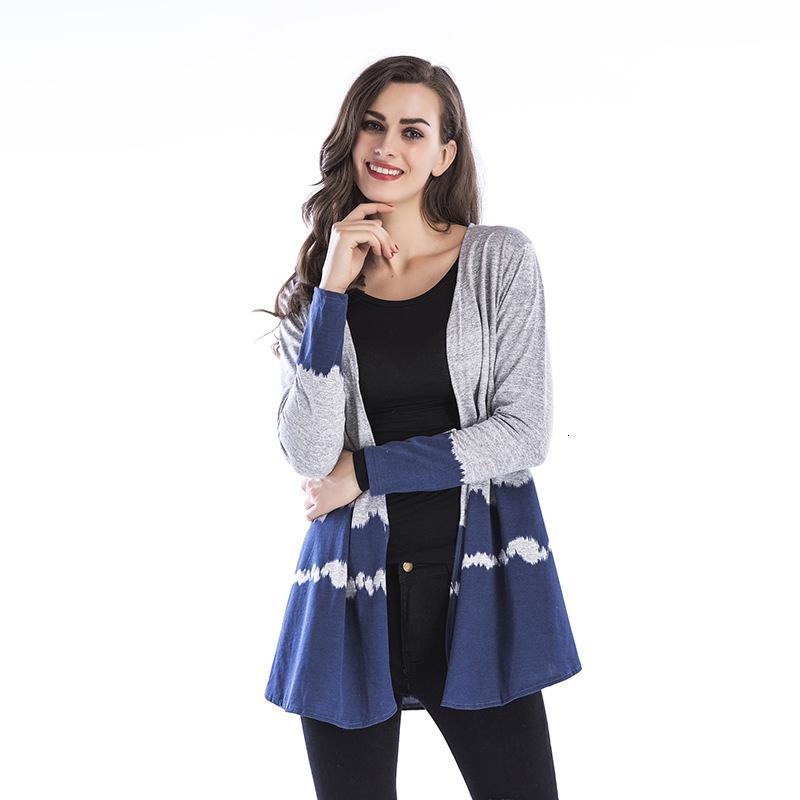 Autunno femminile 2019 di usura di media lunghezza Paragrafo maglieria cardigan femminile graduale cambiamento di colore Niente collare Tempo libero Piccolo cappotto allentato