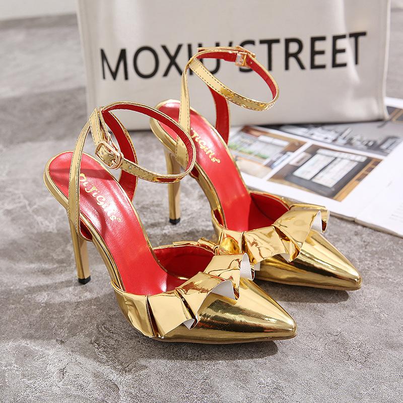Moda novos singles sapatos de mulheres sexy de ouro sapatos saia dedo apontado fivela sandálias de salto alto