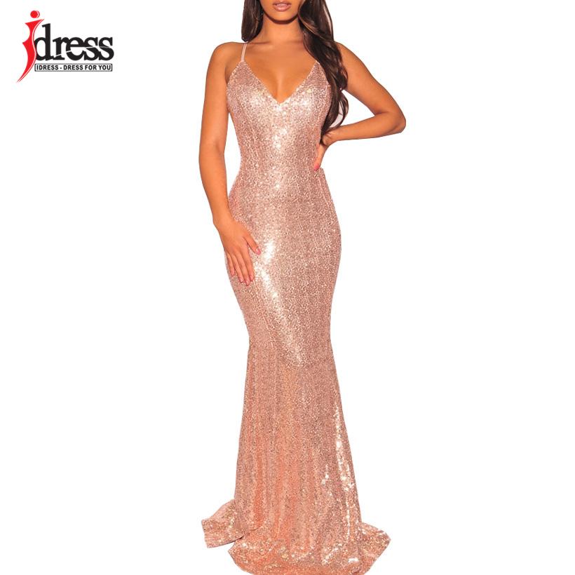 ec62ee1e60e05 IDress 2019 Black/ Gold/ Green Women Elegant V Neck Sleeveless Evening  Party Maxi Long Dress Sexy Backless Sequin Vestidos Longo Dresses Summer  Long ...