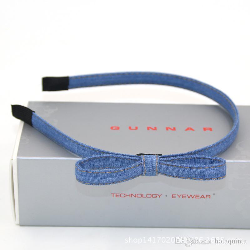 Hot Sale New Fashion Korean Jean Bowknot Hairbands Handmade Blue Denim Leisure Headbands Girls Women Barrette Hair Accessories