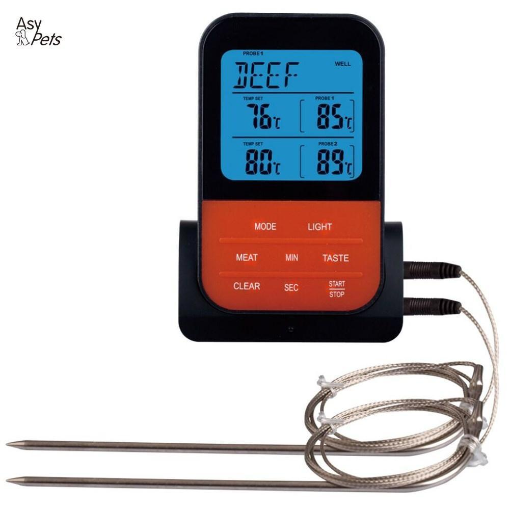 Asypets Wireless Waterproof Bbq Thermometer Digital Cooking Meat Food Oven Grilling Thermometer With Timer Function-30 T8190701
