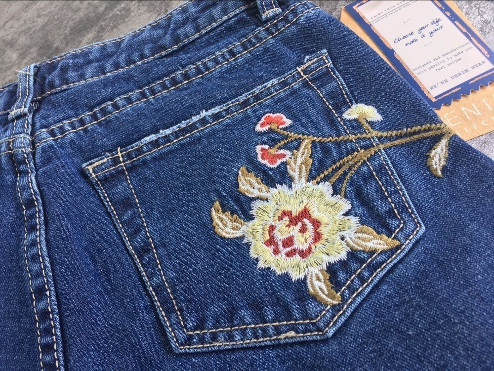 2017 European and American women 3D stereo front and rear side embroidery high waist Slim cowboy nine feet pants fashion wild (29)