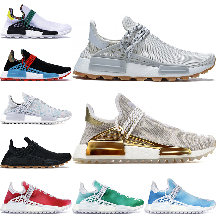 2020 NMD Human Race Mens Running Shoes With Box Pharrell Williams Sample Yellow Core Black Sport Designer Shoes Women Sneakers Size 36 47