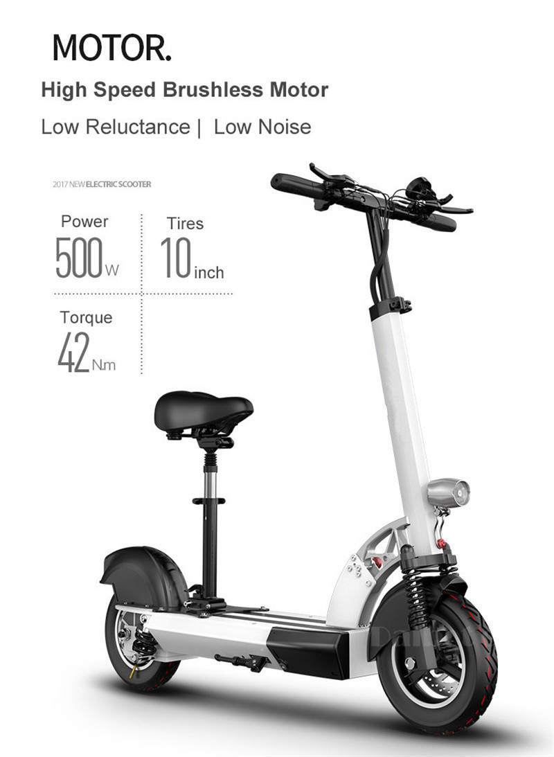 Daibot Folding Electric Bike 48V Two Wheel Electric Scooters 10 inch Motor 500W Portable With Seat Electric Scooters Adults (18)