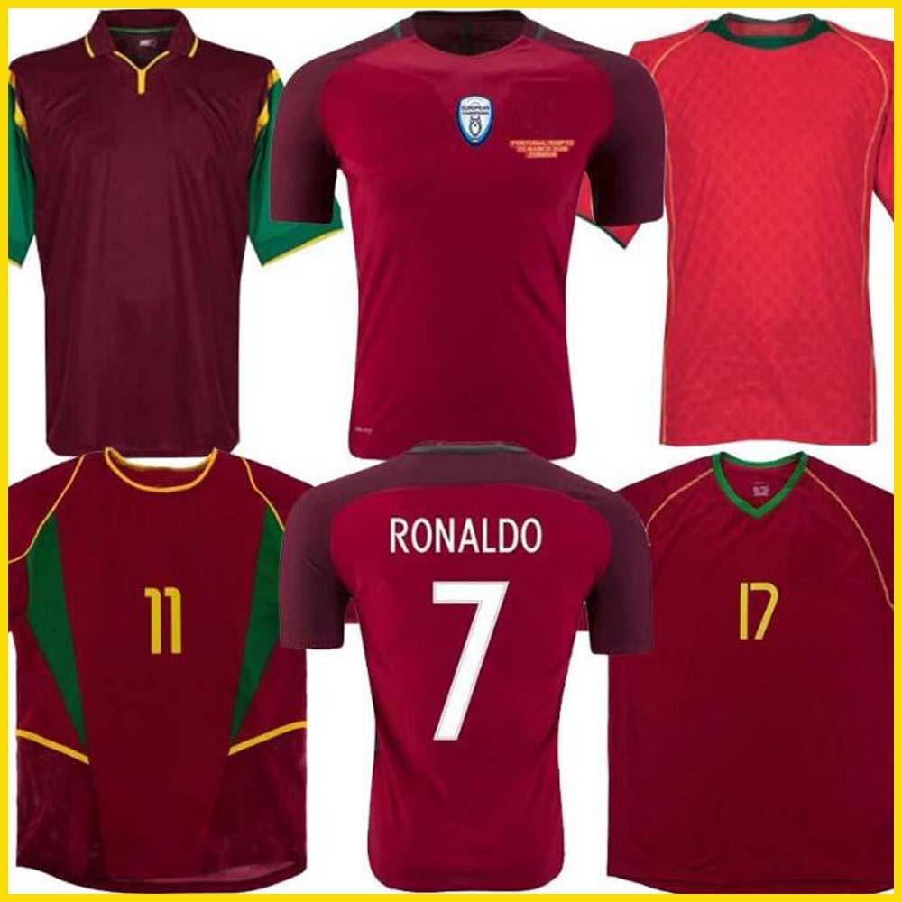 1998 1999 2010 2012 2002 2000 2004 2016 Portugal Retro Soccer Jerseys Rui Costa Figo Ronaldo Soccer Jerseys Nani Football Shirts Portugal Uniforms S-XXL