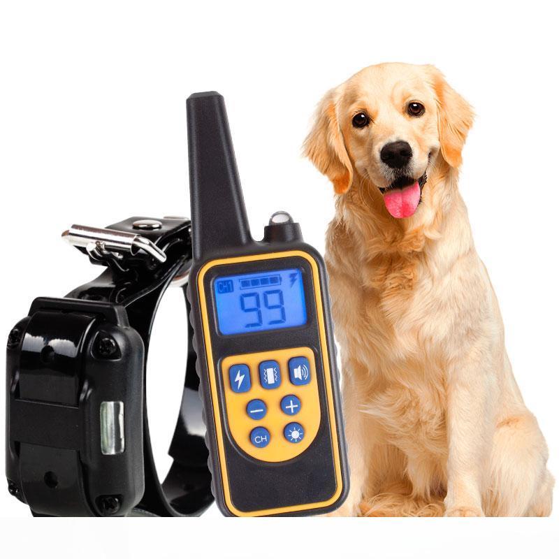 Perros Corteza de entrenamiento Collar LCD Remoto Descarga eléctrica recargable