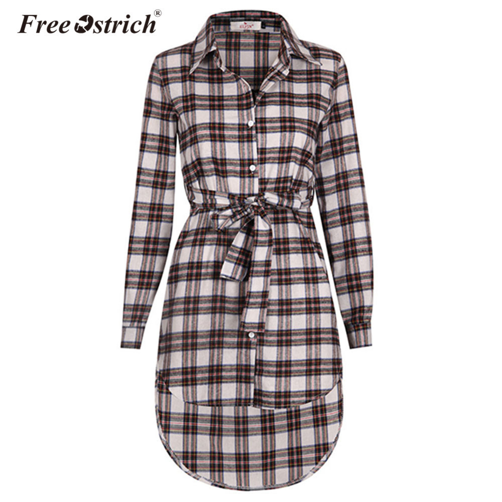 Free Ostrich Dress Women Vintage Long Sleeve Office Dresses Button Sexy Irregular Plaid Shirt Dresses Women Clothes A0535 Y19012201