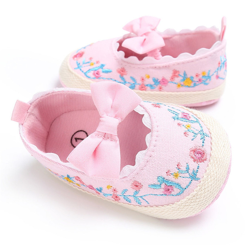 Baby Girls Shoes Fashion Newborn Infant Baby Girls Canvas Floral Bowknot Lace Shoes Soft Sole Anti-slip First Walker M8Y04 (5)