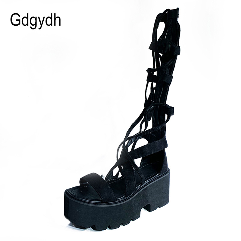 Size5-10 Women/'s Suede Leather Knee High Roman Gladiator Sandals Flat Long Boots