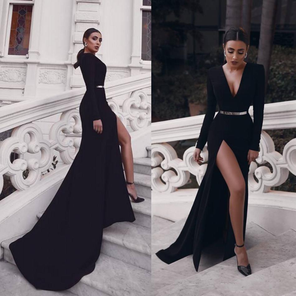 12 Sexy Schwarz-Nixe-Abend-Kleider mit langen Ärmeln V-Ausschnitt Satin  Sweep Zug Abendkleider Hoch Slits Roben de soirée Abendkleid