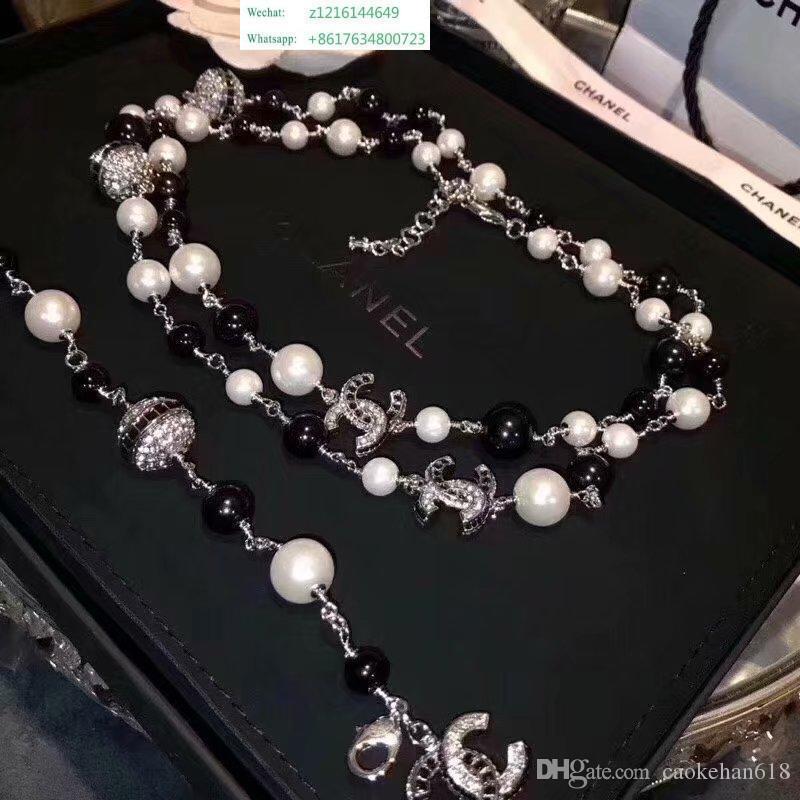 Top Designer De Luxo Diamante Longo Colar High-end Colar De Pérolas Mulheres S Importado Colar De Cristal 18k Ouro Broche de Jóias