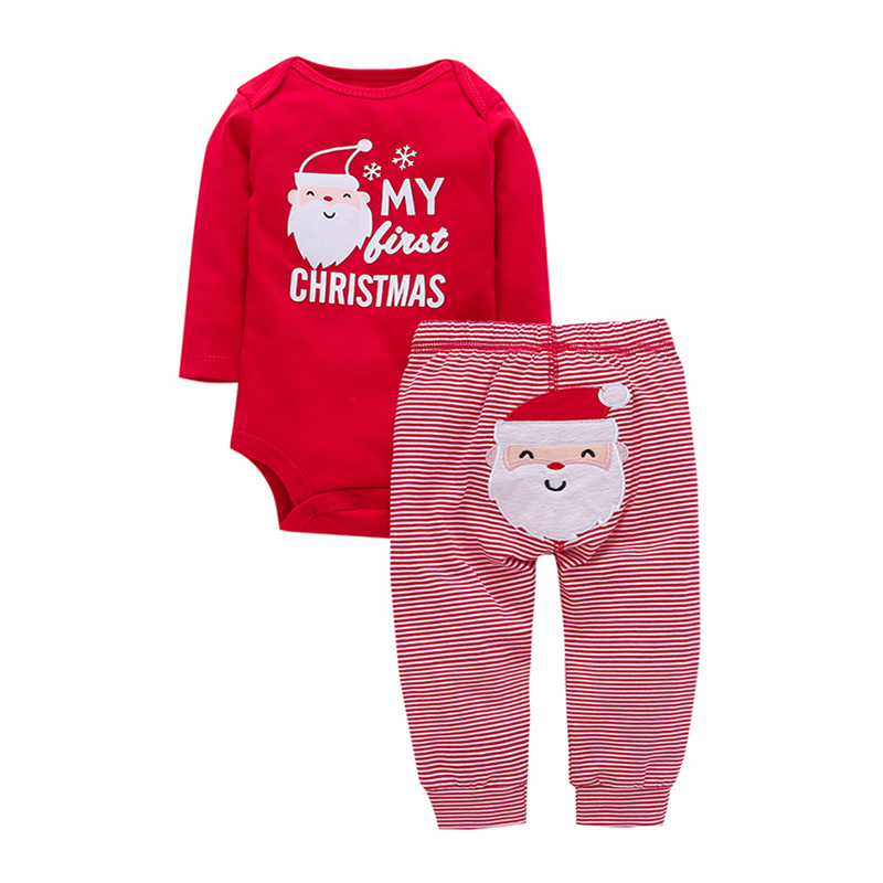 my first Christmas new born baby gift,2PCS Xmas suit,long sleeve rompers cartoon Santa+pants,infant baby boy girl clothing set