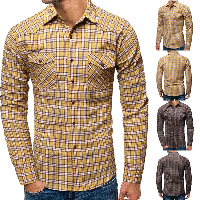 Men/'s Cotton Business Casual Long Sleeves Plaid Slim Fit Button Down Dress Shirt