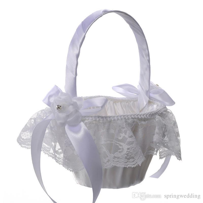 Cesta de flores para ni/ña con plumas de avestruz blancas con encaje floral para novia para decoraci/ón rom/ántica de boda ceremonia fiesta